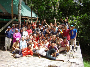 MESCOT team with Raleigh International Volunteers during contruction of the Tungog Rainforest Eco Camp