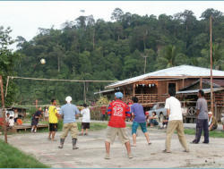 Every afternoon the villagers gather on the volleyball court or football field for some gosip, and a good laugh